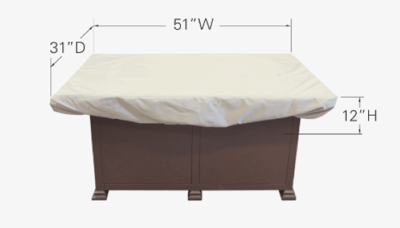 "Treasure Garden Weather Cover Fits 50"" x 30"" Rectangle Fire Pit/Table/Ottoman - CP933"