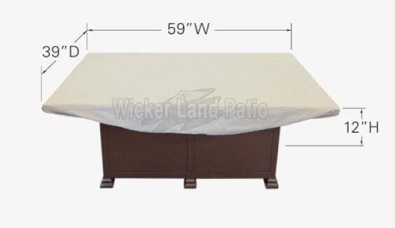 "Treasure Garden Weather Cover Fits 58"" to 38"" Rectangle Fire Pit/Table/Ottoman - CP936"