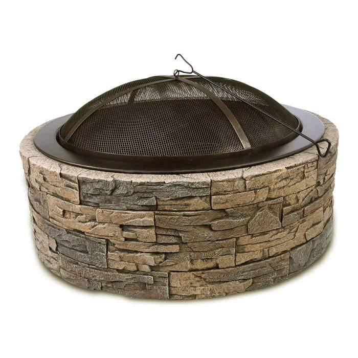 "Wicker Land Patio Heaters & Fire Tables Shinerich 35"" Cast Stone Fire Pit"