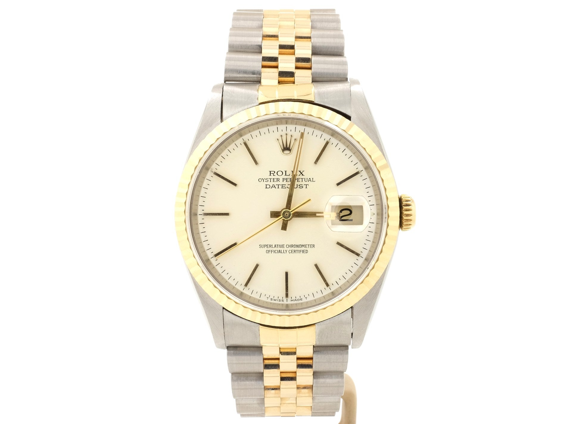 Very Good Condition 36mm Rolex DATEJUST 16233 with Ivory Dial