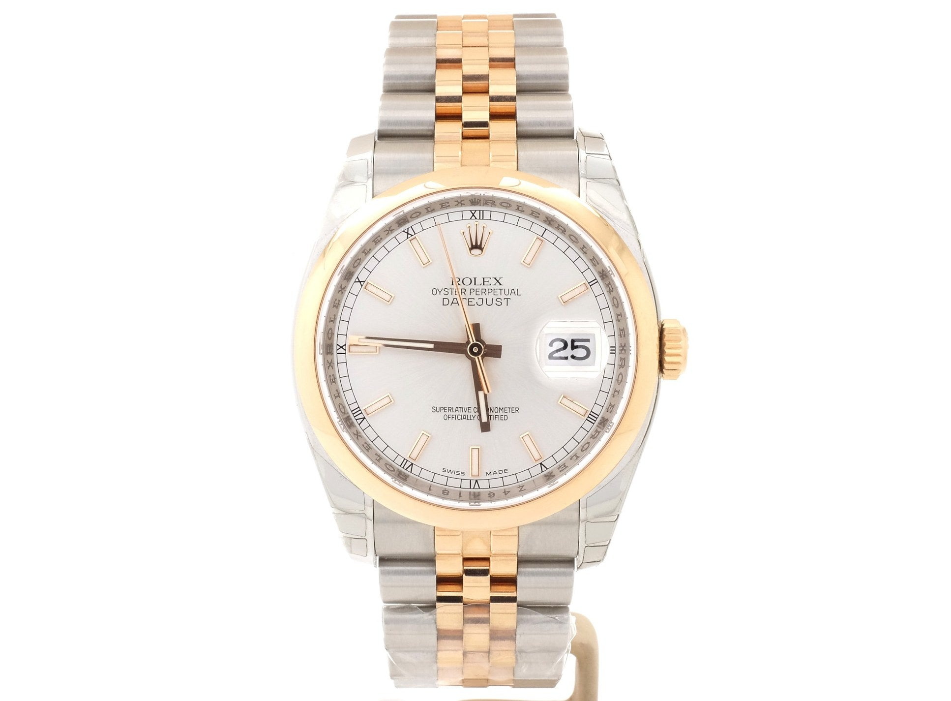 36mm 2007 Rolex Datejust 116201 in 18ct Rose Gold and Steel with Light Grey Dial
