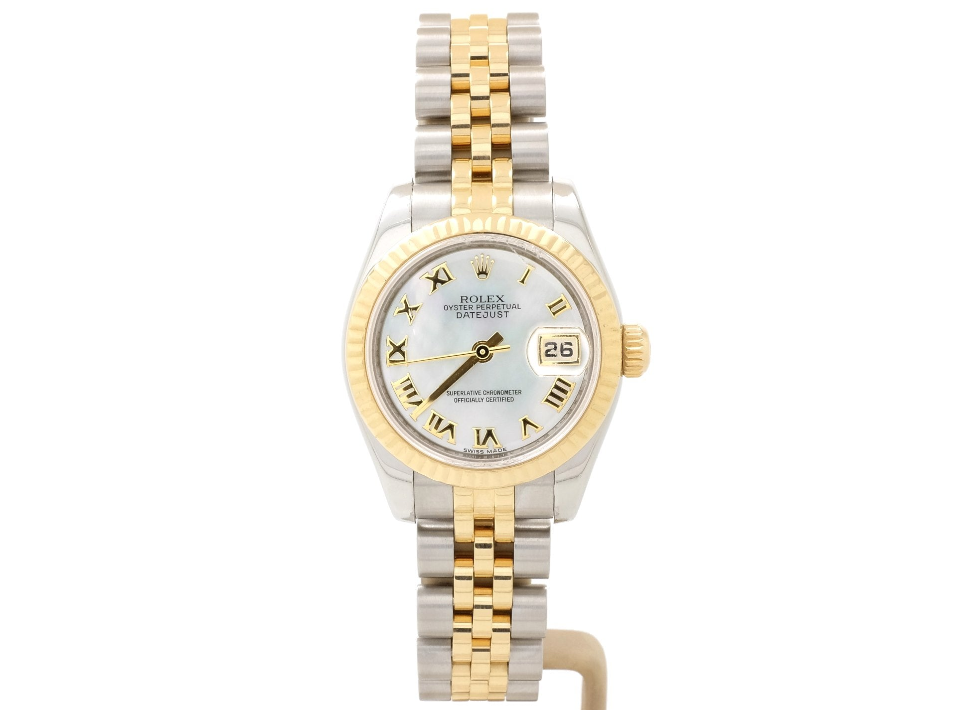26mm Rolex LADY-DATEJUST Model 179173 in 18ct-Gold & Steel with MOP Dial