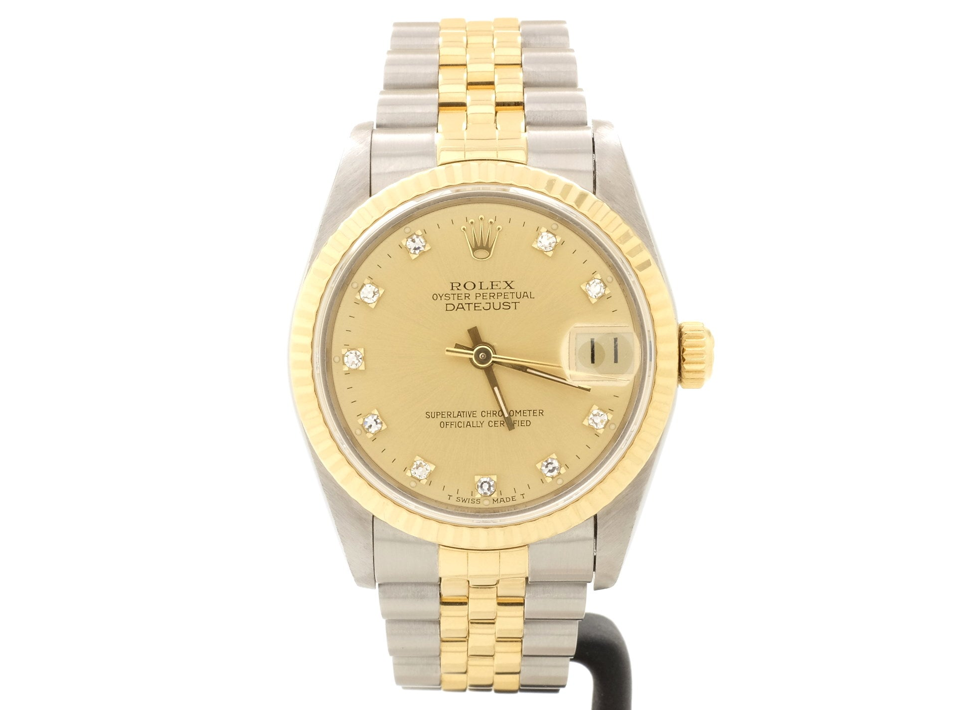 Mid-Size Ladies' 18ct-and-Steel Rolex DATEJUST 68273 with Sparkly Diamond-Dot Dial