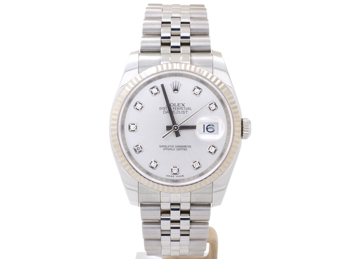 2015 Rolex DATEJUST 116234 with White Gold Bezel and Diamond-Dot Dial