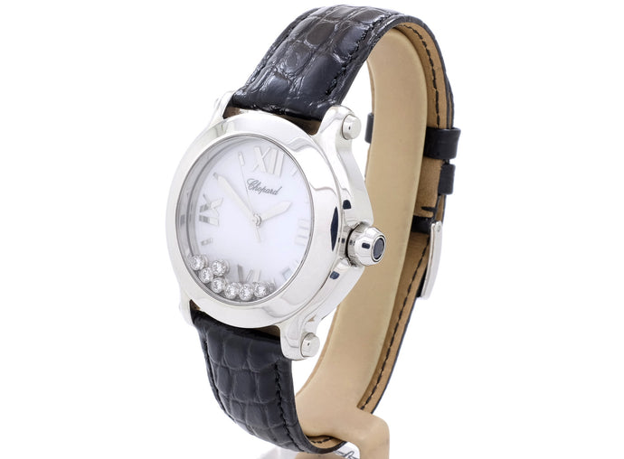 Chopard 'HAPPY SPORT' Quartz Watch with 0.39ct of Moving Diamonds