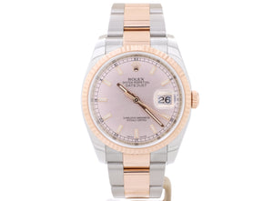 MINT 36mm Steel and Everose Gold Rolex DATEJUST 116231 with Gorgeous 'Sundust Pink' Dial