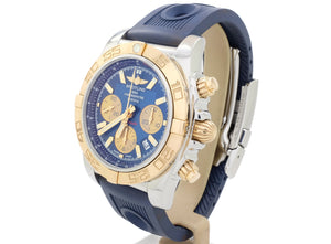 Almost-New Metallica Blue Breitling CHRONOMAT 44 model CB0110121C1P1 in Steel & Gold