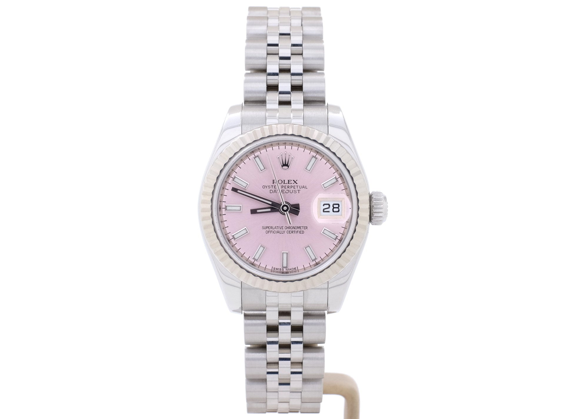 26mm Pink Dial Rolex LADY-DATEJUST 179174 with 18ct White Gold Bezel