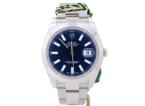 Imposing and Masculine 41mm Rolex DATEJUST II 116300 with Dark Blue Dial