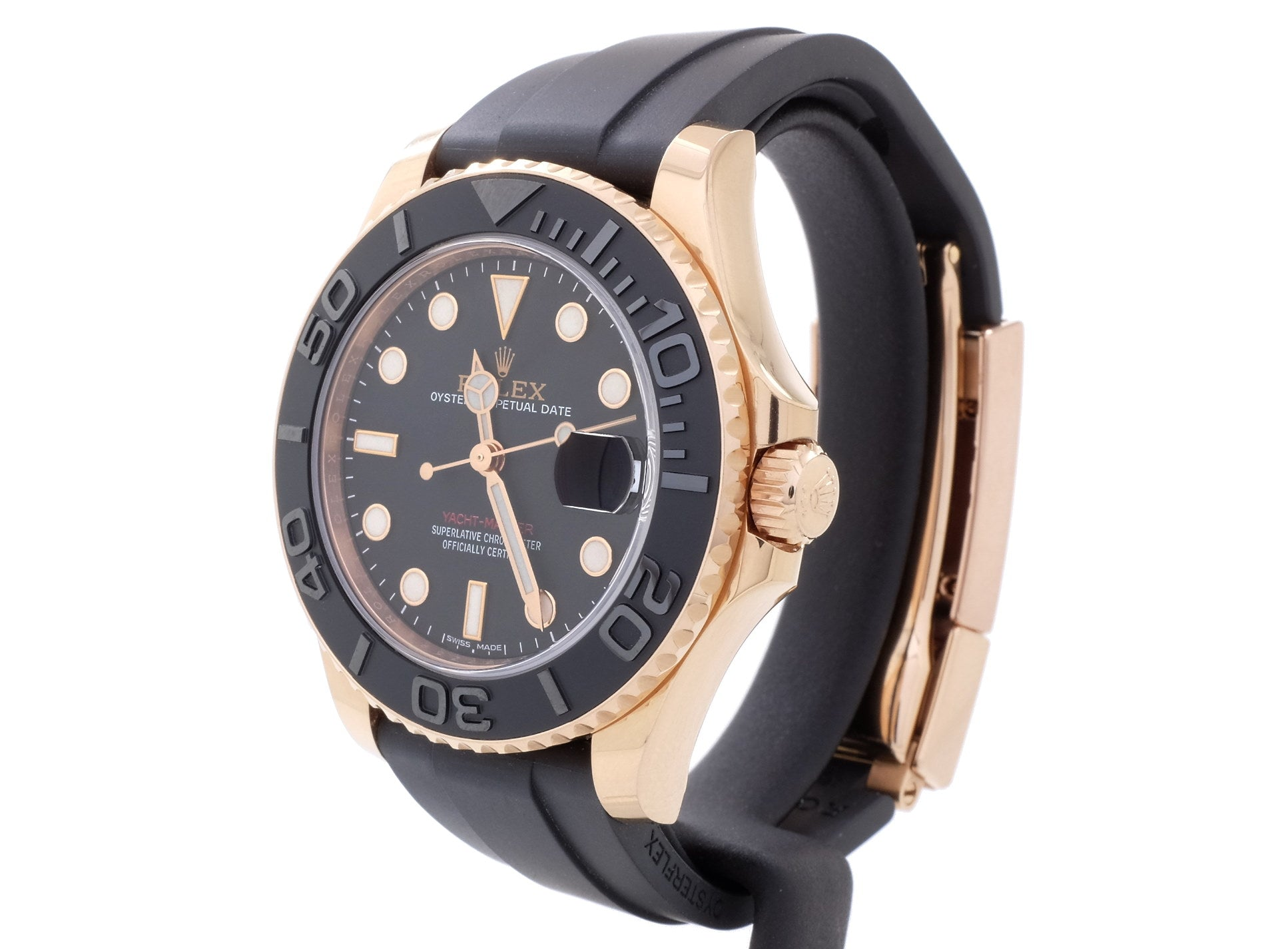Stunning, MINT Ladies' 18ct Rose-Gold Rolex YACHT-MASTER 37 268655 on Oysterflex Strap