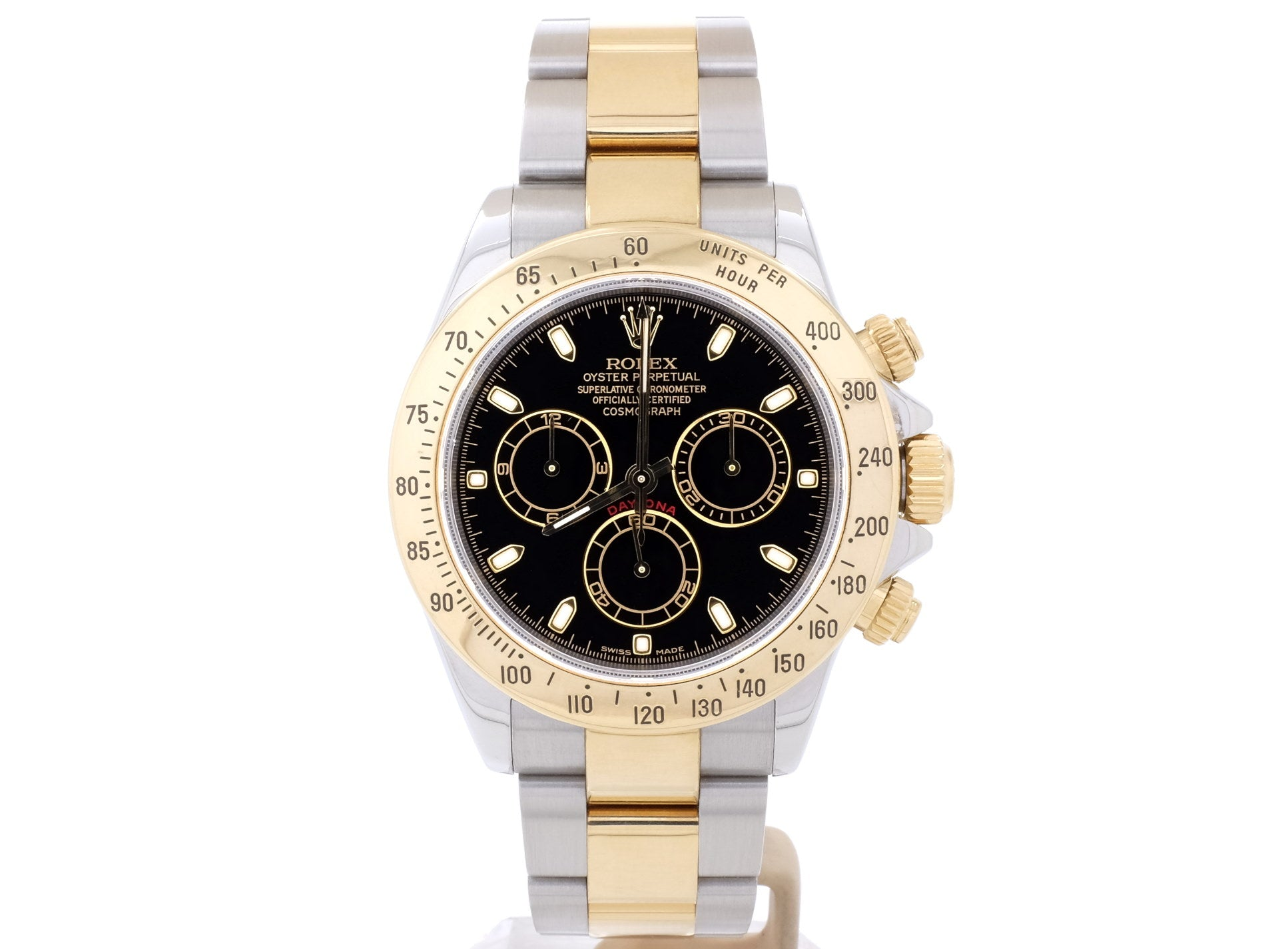 18ct Yellow Gold and Steel Rolex DAYTONA 116523 with Black Dial