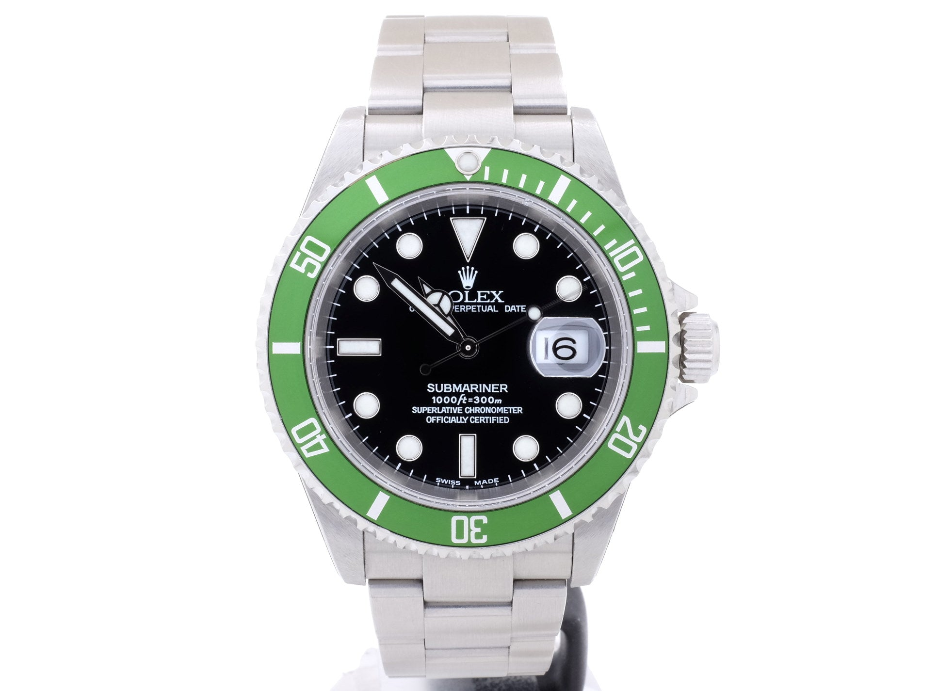 2003 Rolex SUBMARINER DATE 16610LV ('Kermit') with Flat 4