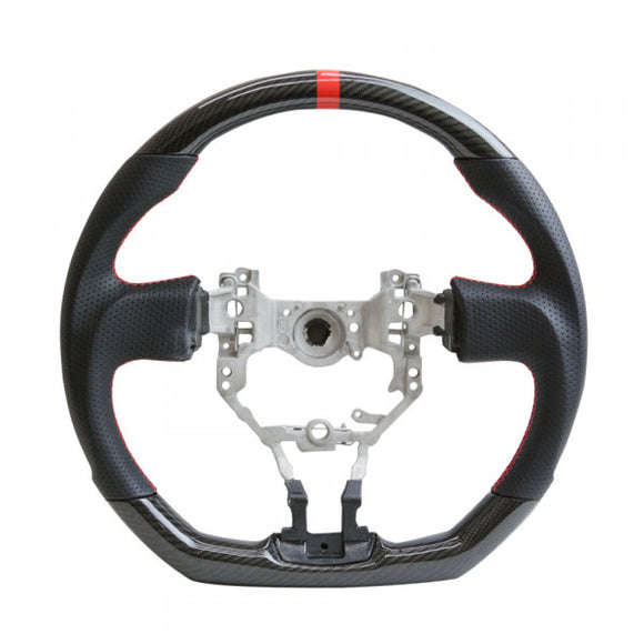 2013+ Toyota FRS/Subaru BRZ Real Carbon Fiber Steering Wheel Red Stripe Red Stitch