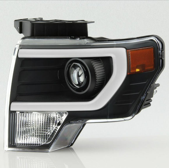Black OEM HID Style Retrofit Headlights for Halogen Equipped Trucks Only with White DRL(2009-2014 F150)