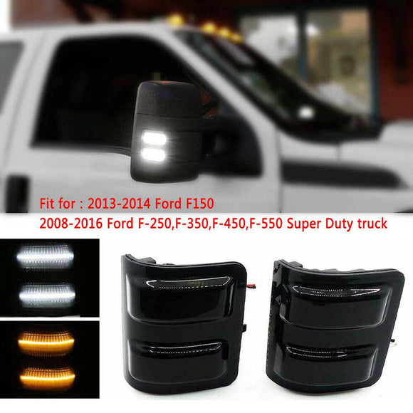 Ford F150 F250 F350 F550 Smoked Mirror Light LED Switchback