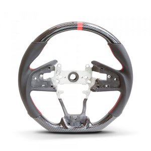 Honda Civic 10th Gen Hydro Carbon Steering Wheel - Red Stripe/Red Stitch
