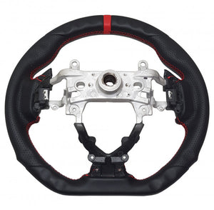 Honda Civic 9th Gen Full Leather Steering Wheel - Red Stripe/Red Stitch