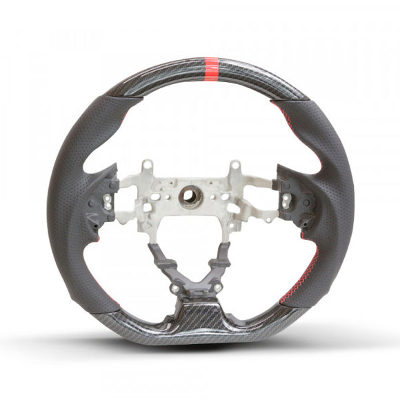 Honda Civic 9th Gen Hydro Carbon Steering Wheel - Red Stripe/Red Stitch