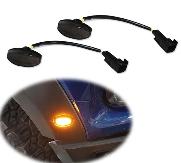 Smoked Lens Amber LED Front Side Marker Running Lights For 2010-2014 Ford Raptor