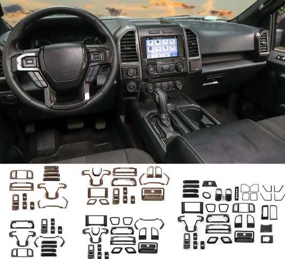 Interior Moldings For Ford F150 2015+ ABS Car Interior Decoration Cover Stickers Kit Accessories For Ford F150 2015 Up