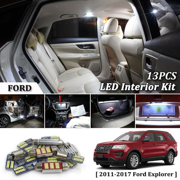 13Pcs White Canbus led Car interior lights upgrade Kit for 2011- 2016 2017 Ford Explorer led interior Dome Trunk lights