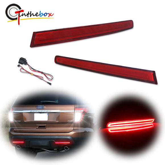 European Style LH RH Red LED Bumper Reflectors Rear Brake Tail Fog Lights For 2011-2015 Ford Explorer