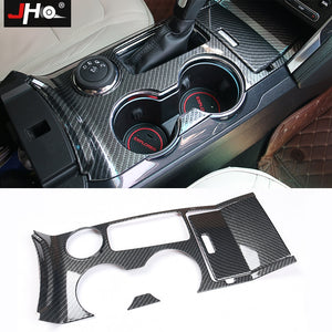 Carbon Fiber Look Water Cup Holder Panel Trim For Ford Explorer 2015-2019