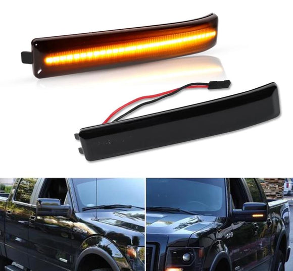 Solid Amber LED Side Mirror Marker Lights For 2009-14 Ford F150 & 2010-14 SVT Raptor