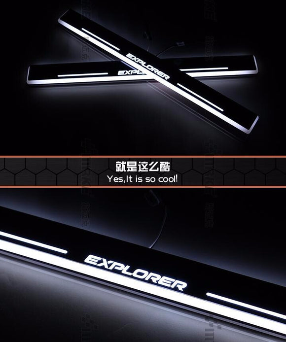 Waterproof Ultrathin Acrylic LED door sill for ford Explorer 2011-14, Led moving door scuff plate