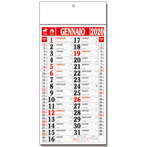 119 Calendario Quadretto con listello trimestrale