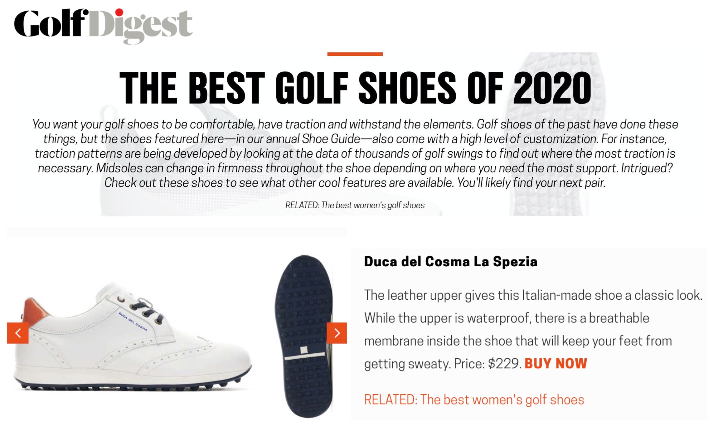 Golf Digest publication featuring the La Spezia shoe as one of the Best Golf Shoes of 2020