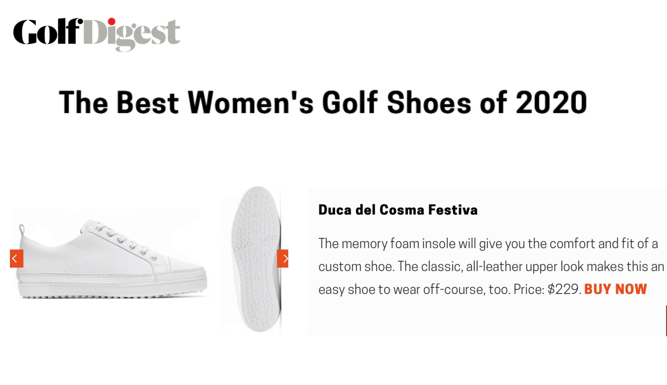 Golf Digest publication featuring the Festiva shoe as one of the Best Womens Golf Shoes of 2020