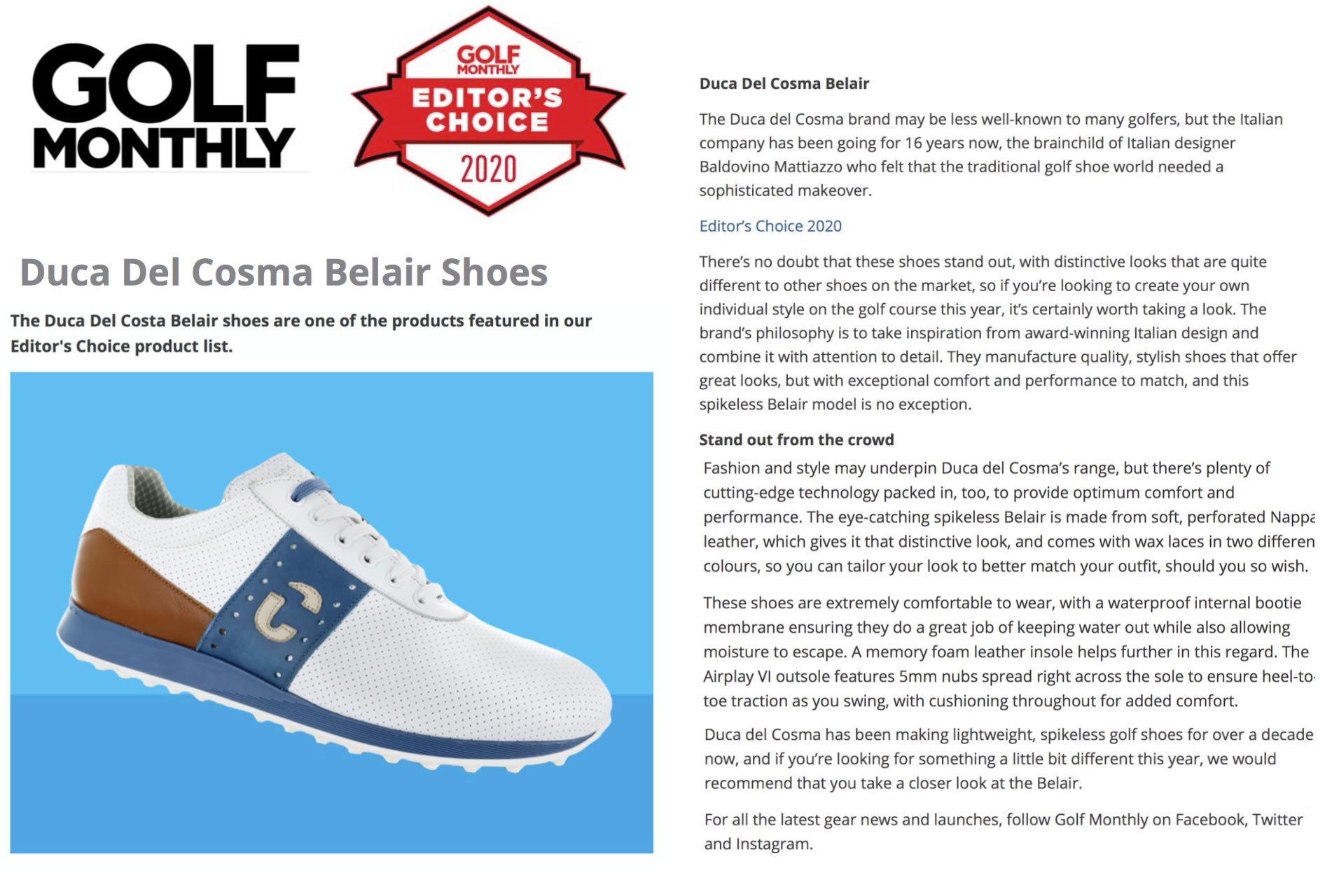 Golf Monthly Editor's Choice Awards article about the Duca del Cosma Belair shoe