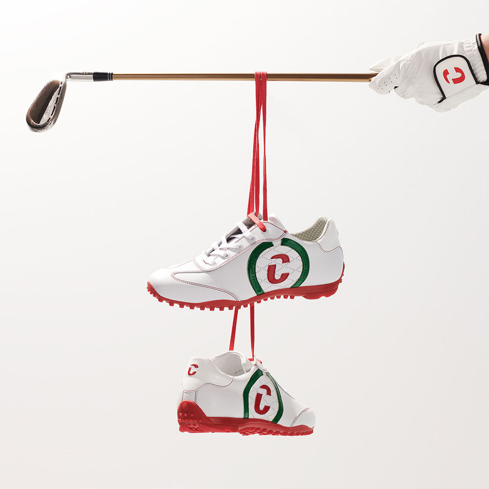 Kuba italian flag golf shoe hanging from golf clubs