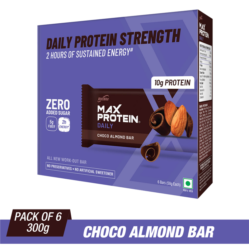 RiteBite Max Protein Ultimate Choco Almond Bars 600g - Pack of 6 (100g x 6) - NutraC - Health & Nutrition Store