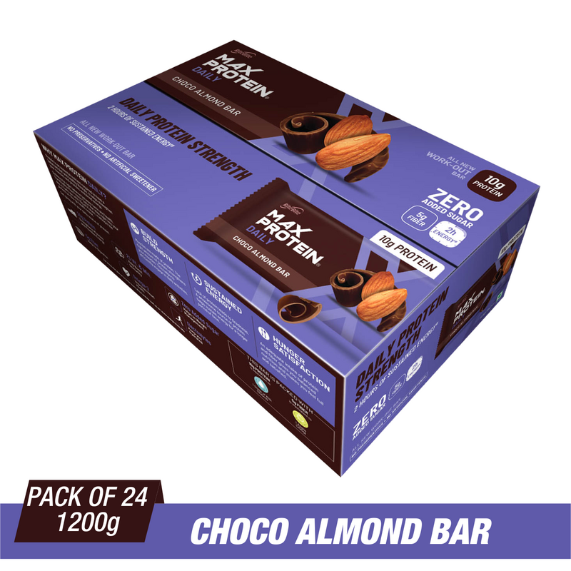Ritebite Max Protein Daily Choco Almond Bars 1200g - Pack of 24 (50g x 24) - NutraC - Health & Nutrition Store