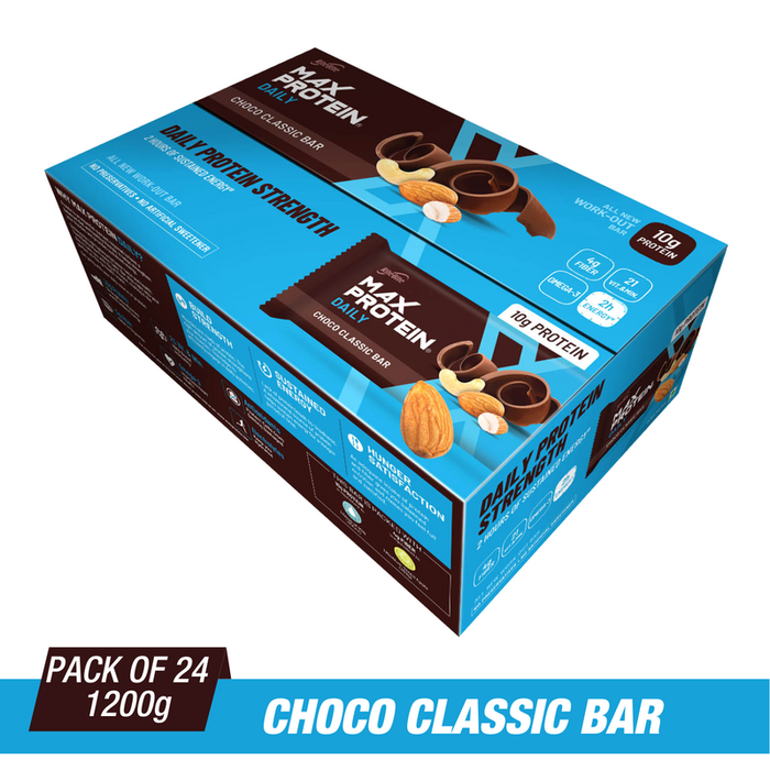 Ritebite Max Protein Daily Choco Classic Bars 1200g - Pack of 24 (50g x 24) - NutraC - Health & Nutrition Store