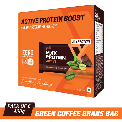 RiteBite Max Protein Active Green Coffee Beans Bars 420g - Pack of 6 (70g x 6) - NutraC - Health & Nutrition Store