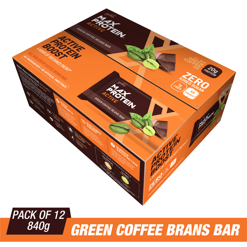 RiteBite Max Protein Active Green Coffee Beans Bars 840g - Pack of 12 (70g x 12) - NutraC - Health & Nutrition Store