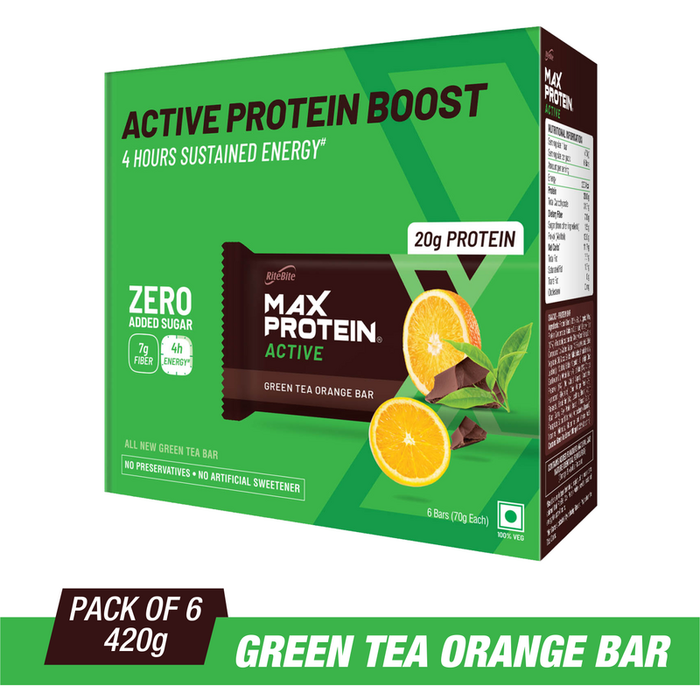RiteBite Max Protein Active Green Tea Orange Bars 420g - Pack of 6 (70g x 6) - NutraC - Health & Nutrition Store