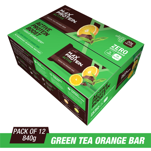 RiteBite Max Protein Active Green Tea Orange Bars 840g - Pack of 12 (70g x 12)