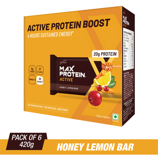 RiteBite Max Protein Active Honey Lemon Bars 420g - Pack of 6 (70g x 6) - NutraC - Health & Nutrition Store