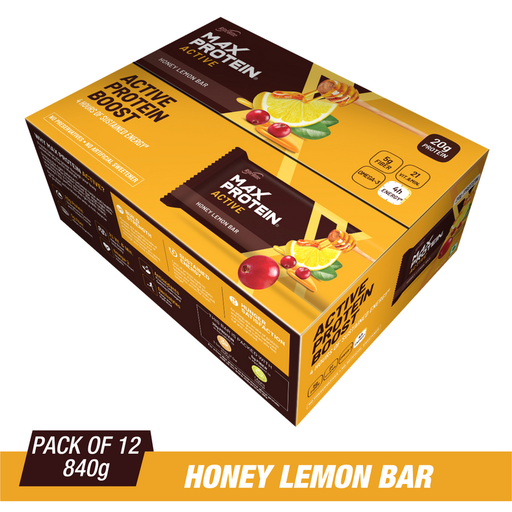 RiteBite Max Protein Active Honey Lemon Bars 840g - Pack of 12 (70g x 12)