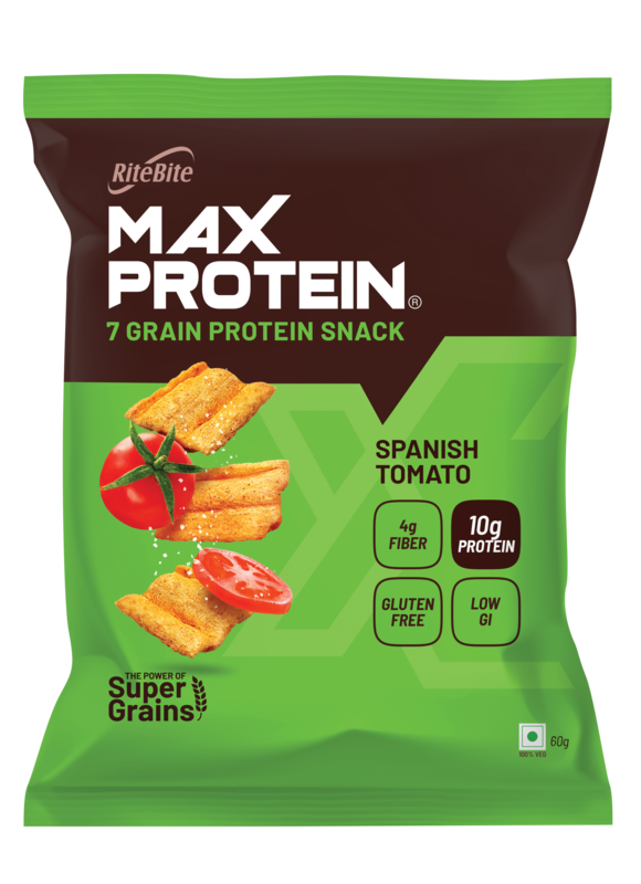 RiteBite Max Protein Chips - Spanish Tomato 60g -Pack of 3 (60g x 3)