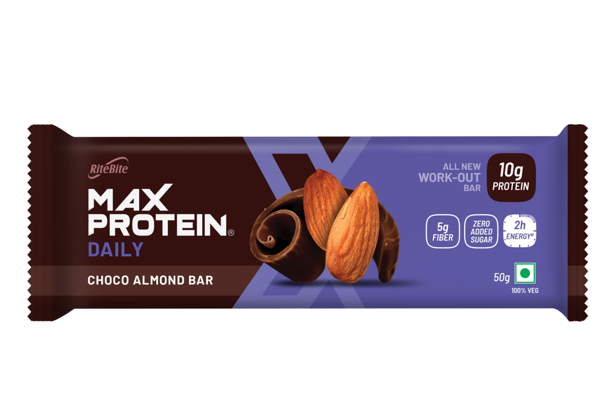 RiteBite Max Protein Ultimate Choco Almond Bar 100g  - Pack of 1 - NutraC - Health & Nutrition Store