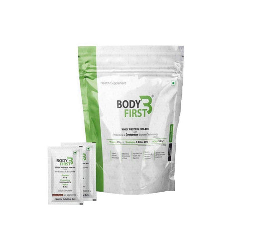 BodyFirst Whey Protein Isolate Powder with Probiotics and Prohydrolase Enzyme Technology , 25 g Protein ( 2.3 lbs) (1.05kg) 32 Servings/Sachets (Chocolate Flavour ) - NutraC - Health & Nutrition Store