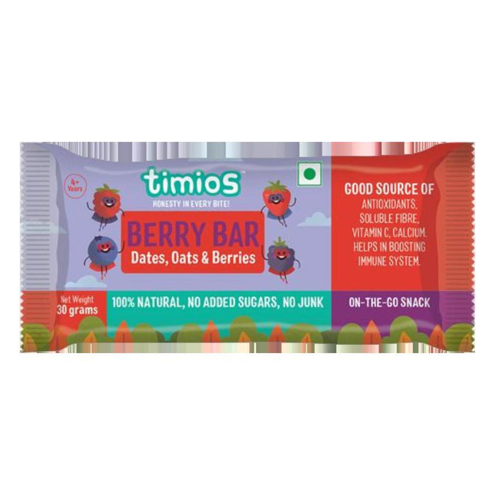 Timios Berry Bars 30 g -Pack of 3 (30g x 3) - NutraC - Health & Nutrition Store