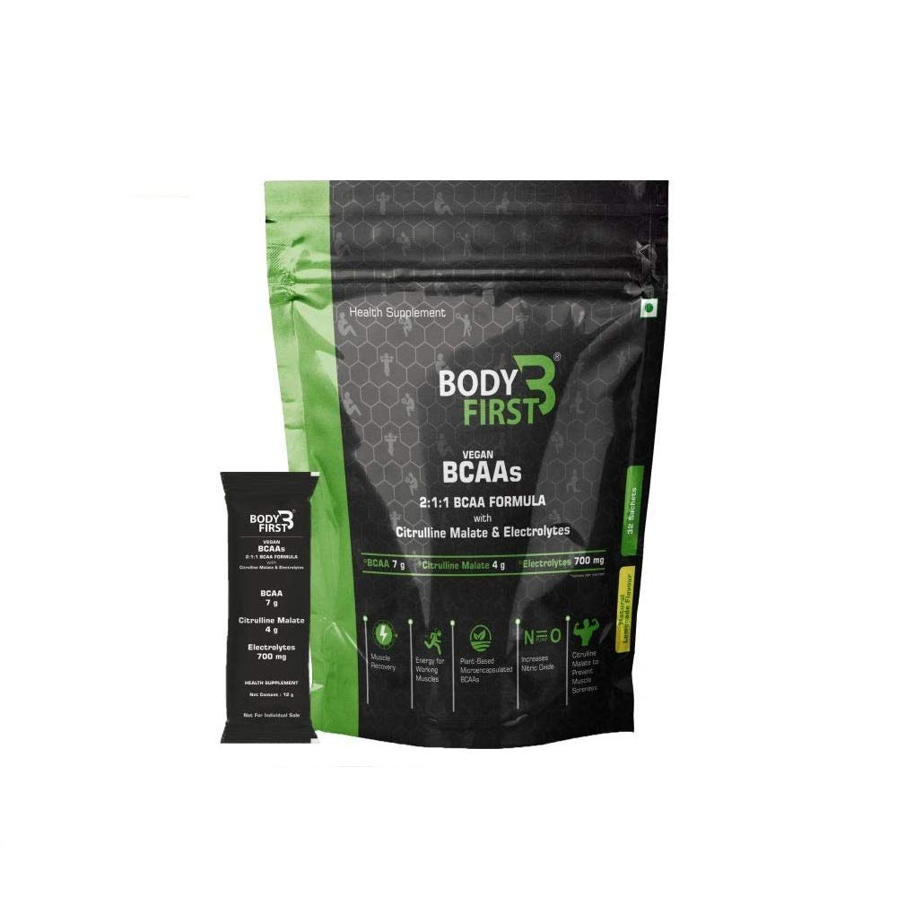BodyFirst Vegan, Fermented, Microencapsulated and Instantised 2:1:1 BCAA's (7 g ) with Citrulline Malate (4 g) 32 sachets , 384 grams, Lemonade - NutraC - Health & Nutrition Store