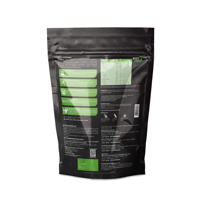 BodyFirst Vegan, Fermented, Microencapsulated and Instantised 2:1:1 BCAA's (7 g ) with Citrulline Malate (4 g) 32 sachets , 384 grams, Green Apple - NutraC - Health & Nutrition Store