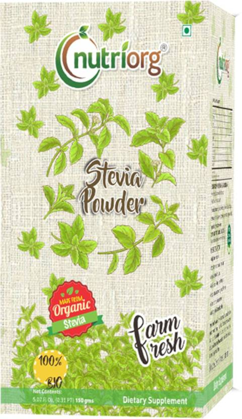 Nutriorg Stevia Leaf Powder (100% Natural Green Powder) 150gms - NutraC - Health & Nutrition Store